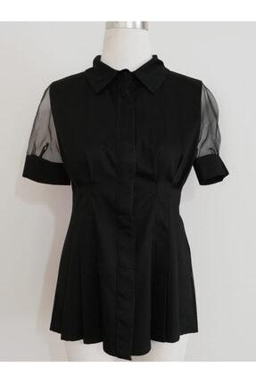 Vekem Kadın Siyah Gömlek Yaka Bluz