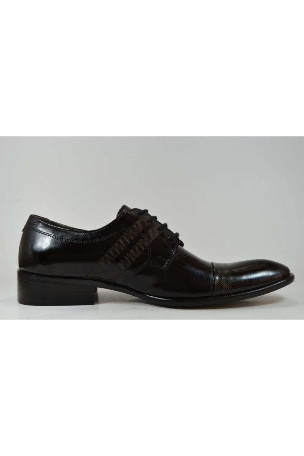 TETRİ Erkek Siyah Rugan Deri Klasik Ayakkabı 2026 2