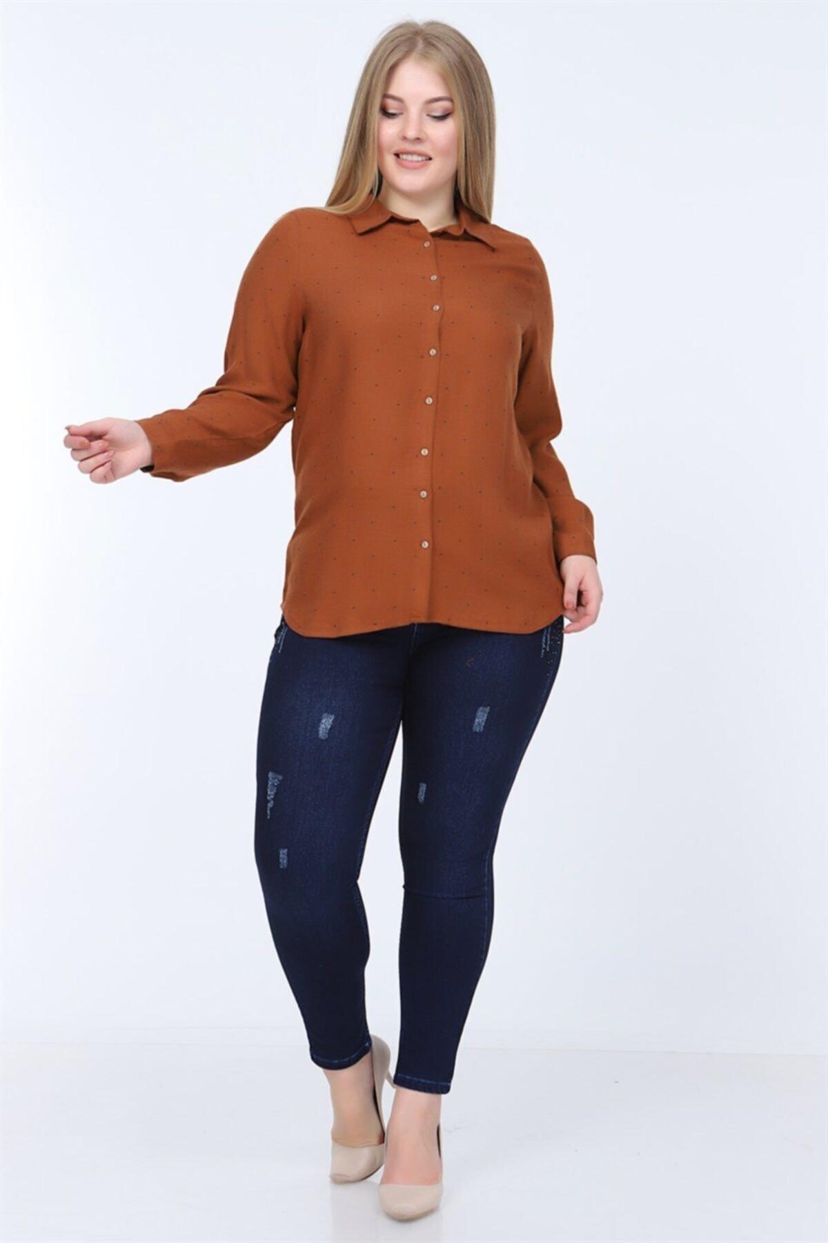 RMG Kadın Kahverengi Büyük Beden Gömlek 1