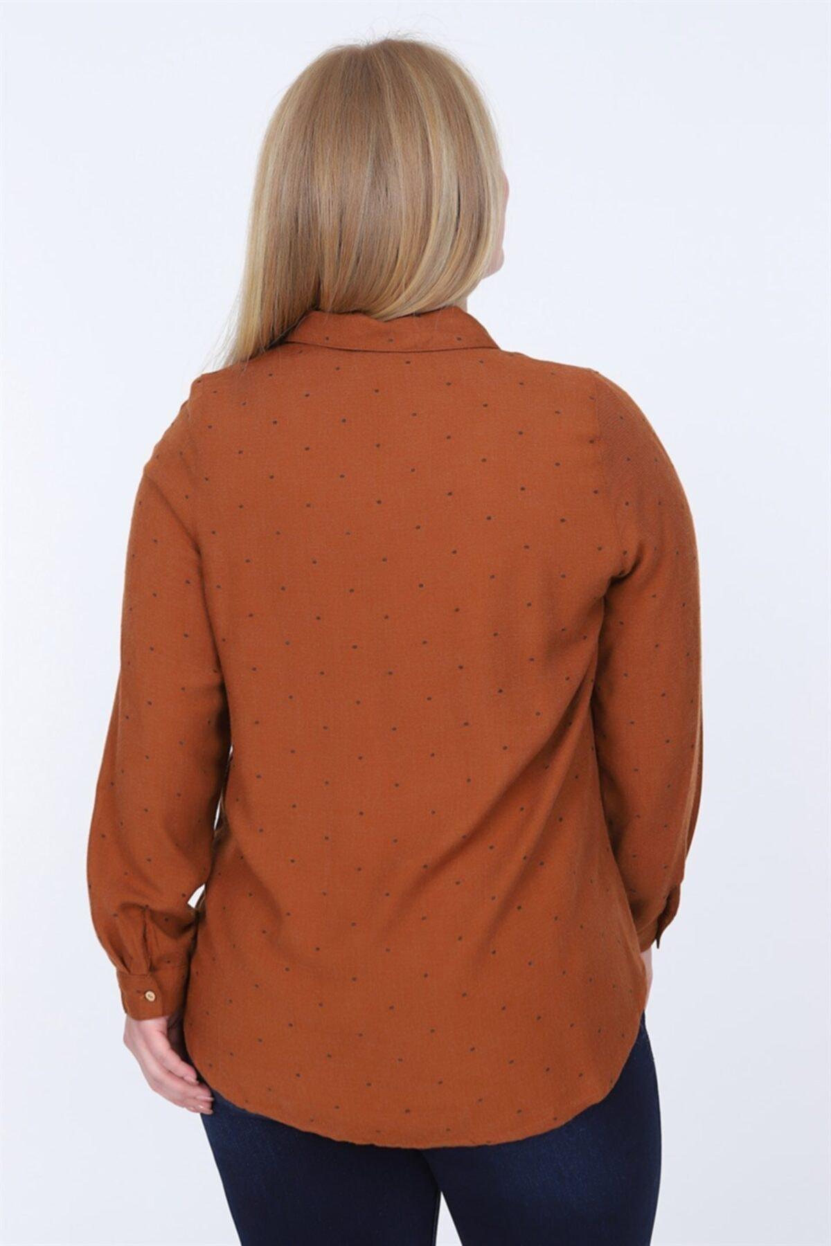 RMG Kadın Kahverengi Büyük Beden Gömlek 2