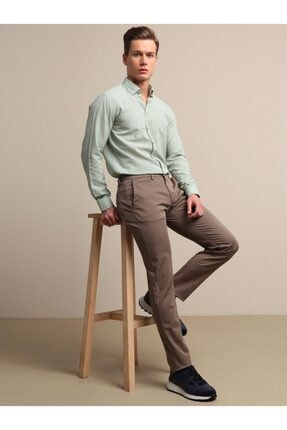 Kip Erkek Kahverengi Düz Dokuma Pantolon