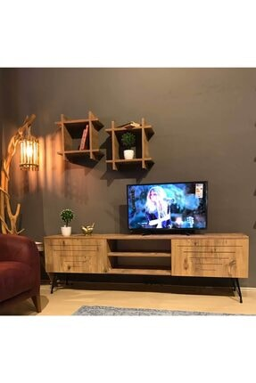 TE-HOME Ceviz Kare Düz Tv Ünitesi 1010