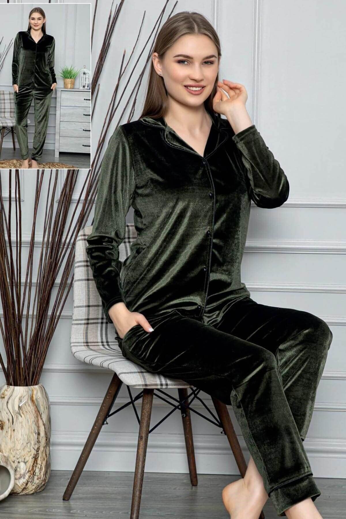 Mossta Kadın Haki Fransız Kadife Düğmeli Pijama Takımı 1