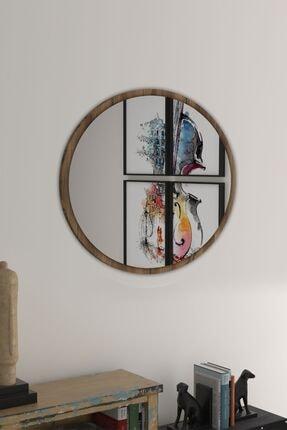 bluecape Yuvarlak Ceviz Duvar Salon Ofis Aynası 60 cm