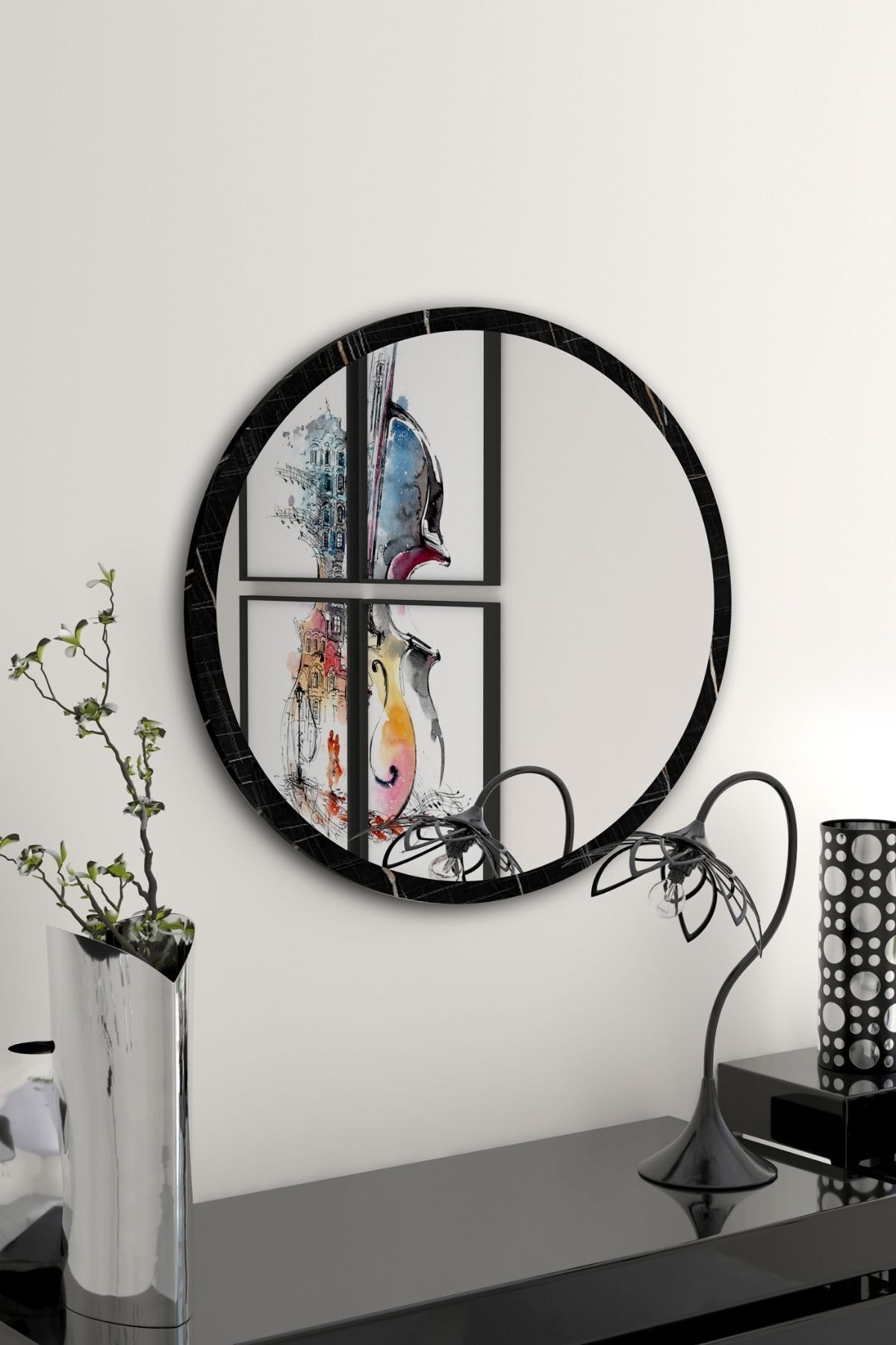 bluecape Yuvarlak Siyah Mermer Desenli Duvar Salon Ofis Aynası 60 cm 1