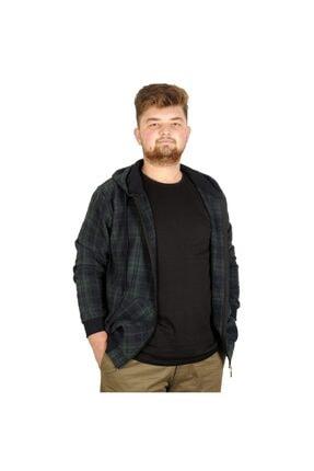 ModeXL Büyük Beden Erkek Sweatshirt Kapşonlu 20579 Nefti