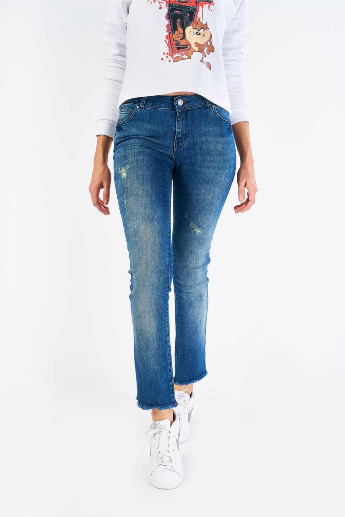 FINGER PRINT Kadın Mavi Denim Pantolon 2