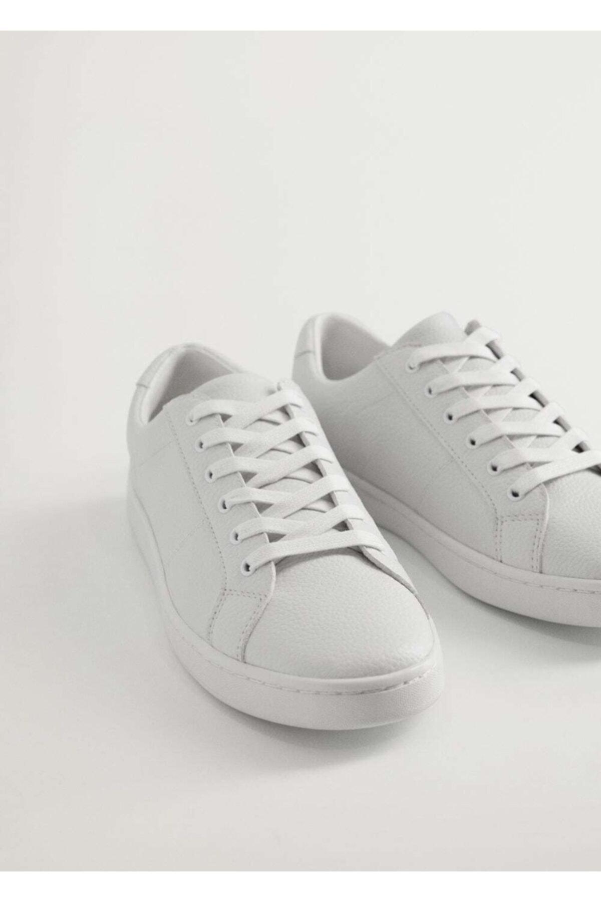 MANGO Man Erkek Beyaz Monocolor Deri Spor Ayakkabı 77010004 2