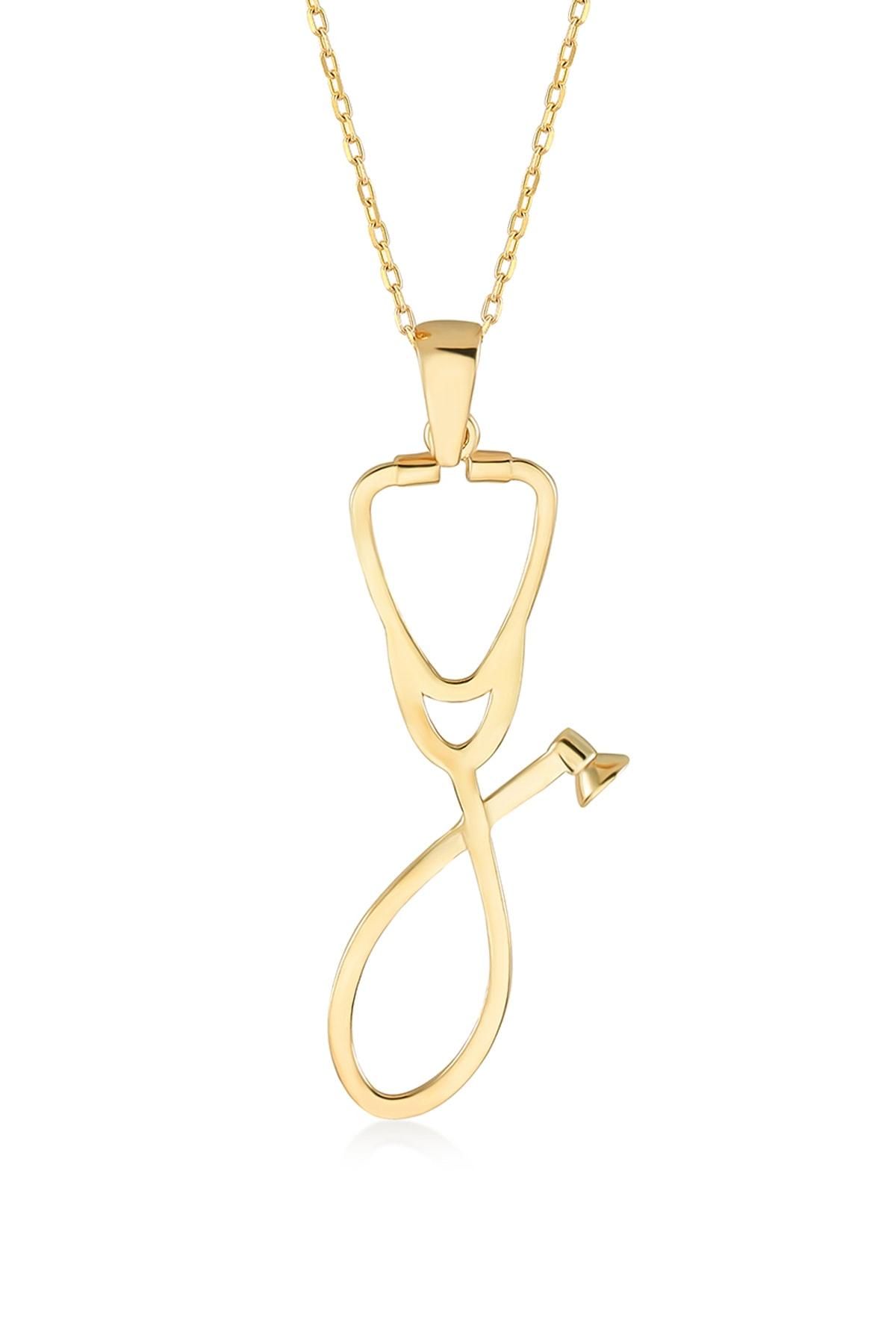 Gelin Pırlanta Kadın Altın Gelin Diamond 14 Ayar Pırlantalı Steteskop Kolye 1