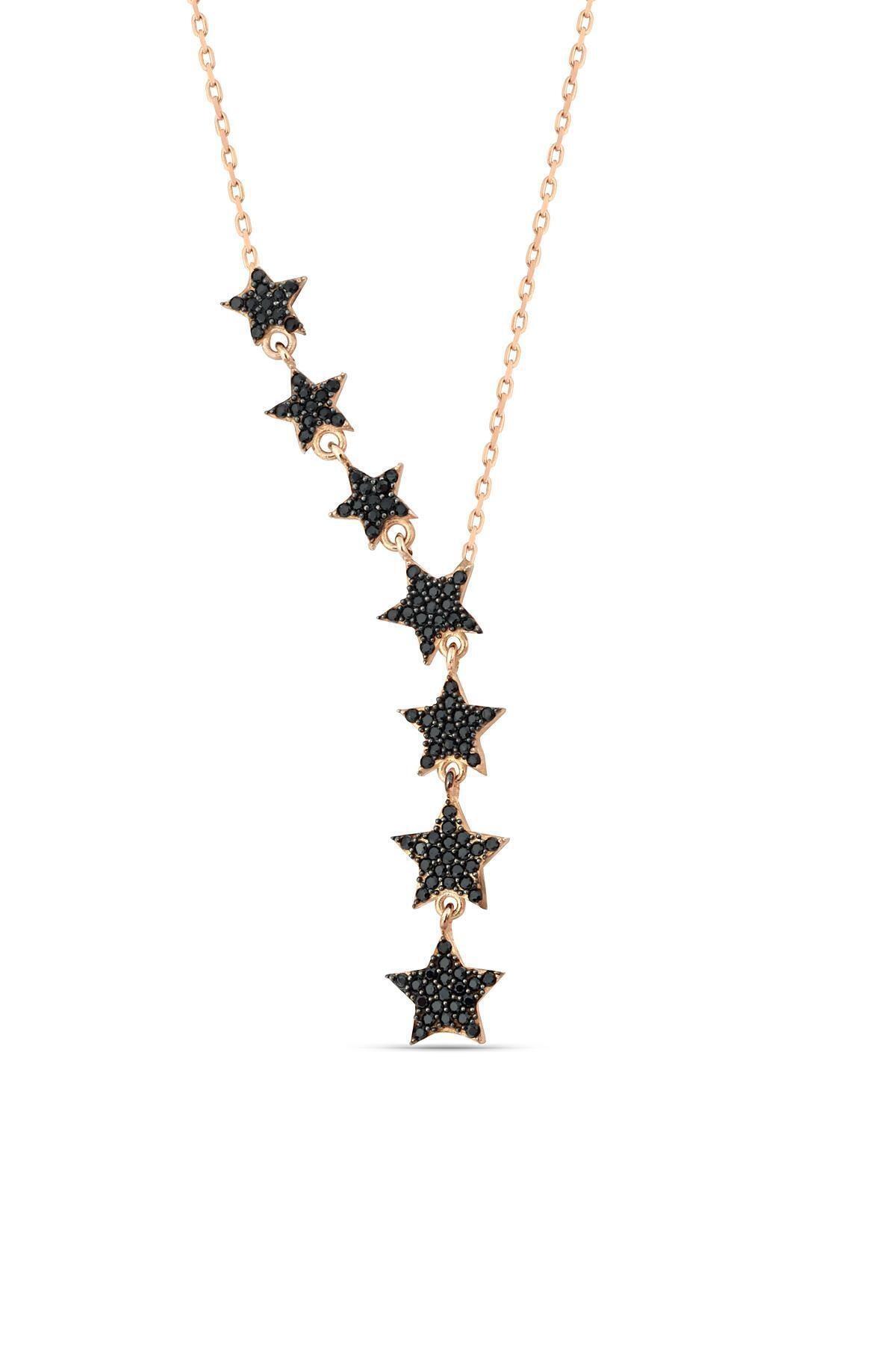 Herisson Silver Kadın 925 Ayar Gümüş Zirkon Siyah Taşlı Kayan Yıldız Takım Kolye 2
