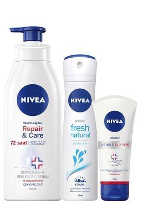 Nivea Nıvea Repair&care Vücut Losyonu 400 Ml + R&c El Kremi 75 Ml + Fresh Kadın Deodorant Sprey 150 Ml