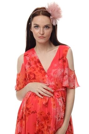 Entarim Kadın Kırmızı Hamile Elbisesi Ent2919-1