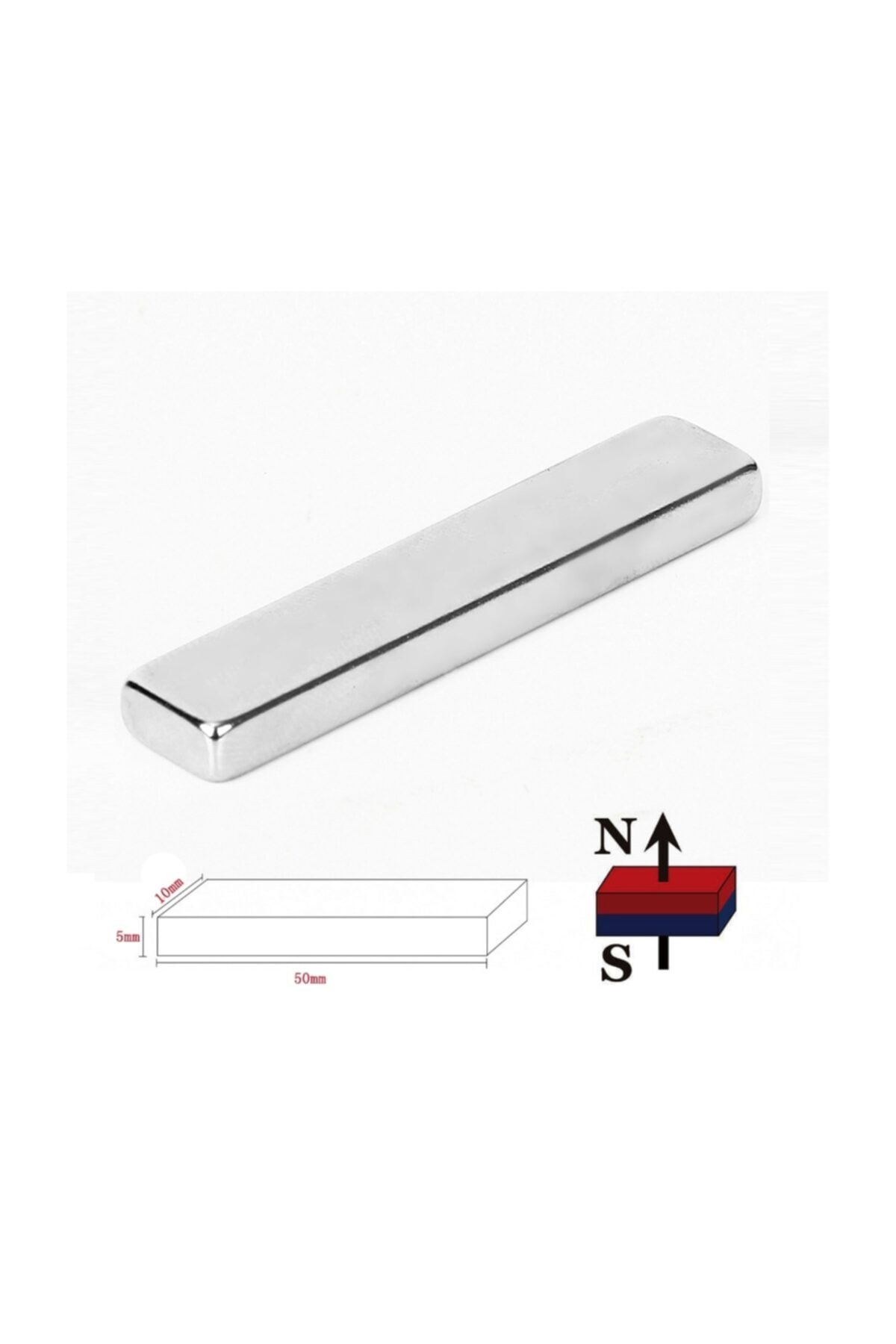 Dünya Magnet 5 Adet Çok Güçlü 50mm X 10mm X 5mm Köşeli Süper Güçlü Neodyum Mıknatıs 1