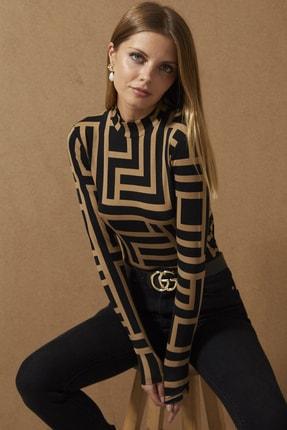 Cool & Sexy Kadın Camel-Siyah Yarım Balıkçı Desenli Bluz LPP1147