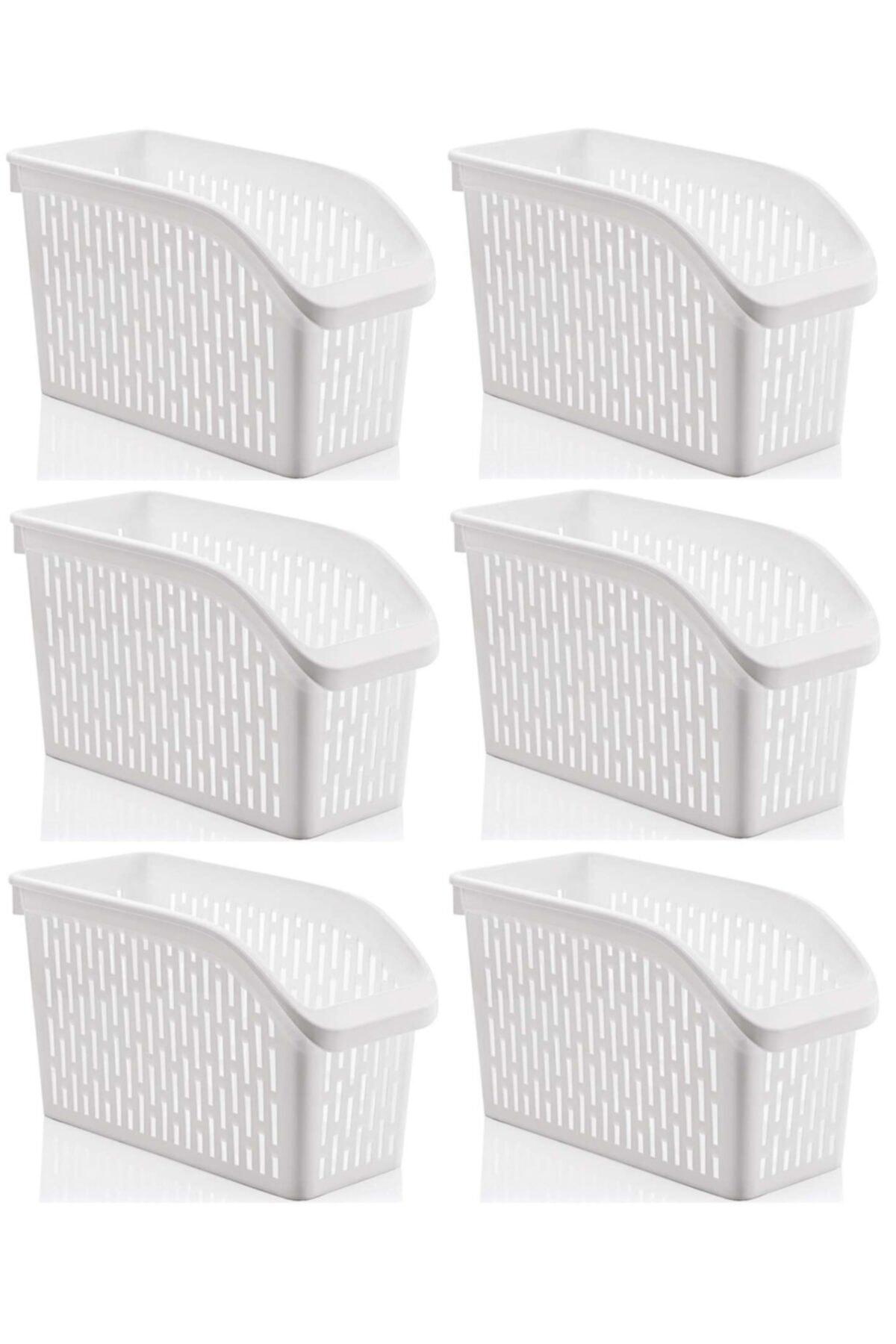 Sas Buzdolabı Sepeti Dolap Içi Düzenleyici Sepet Organizer Beyaz 6 Adet 30x17x16 1