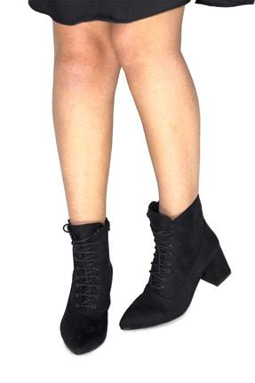 Pekcan Ayakkabı Sivri Buti Topuk 6cm Süet Siyah