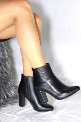 Pekcan Ayakkabı Sivri Buti Topuk 8cm Deri Siyah