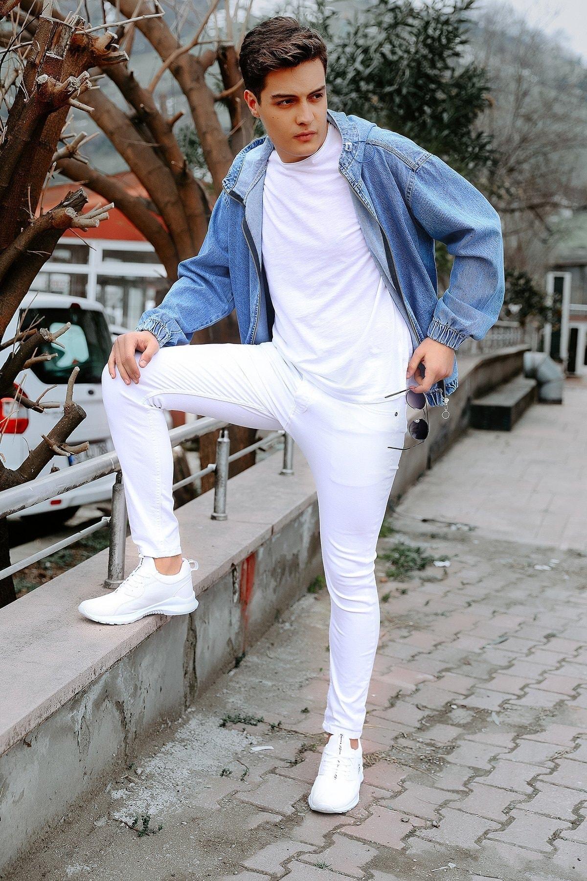 julude Erkek Beyaz Cepli Slim Jean Pantolon 2