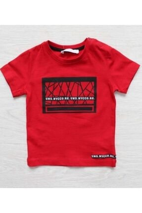 NK Erkek Çocuk Kırmızı Geometrik T Shirt