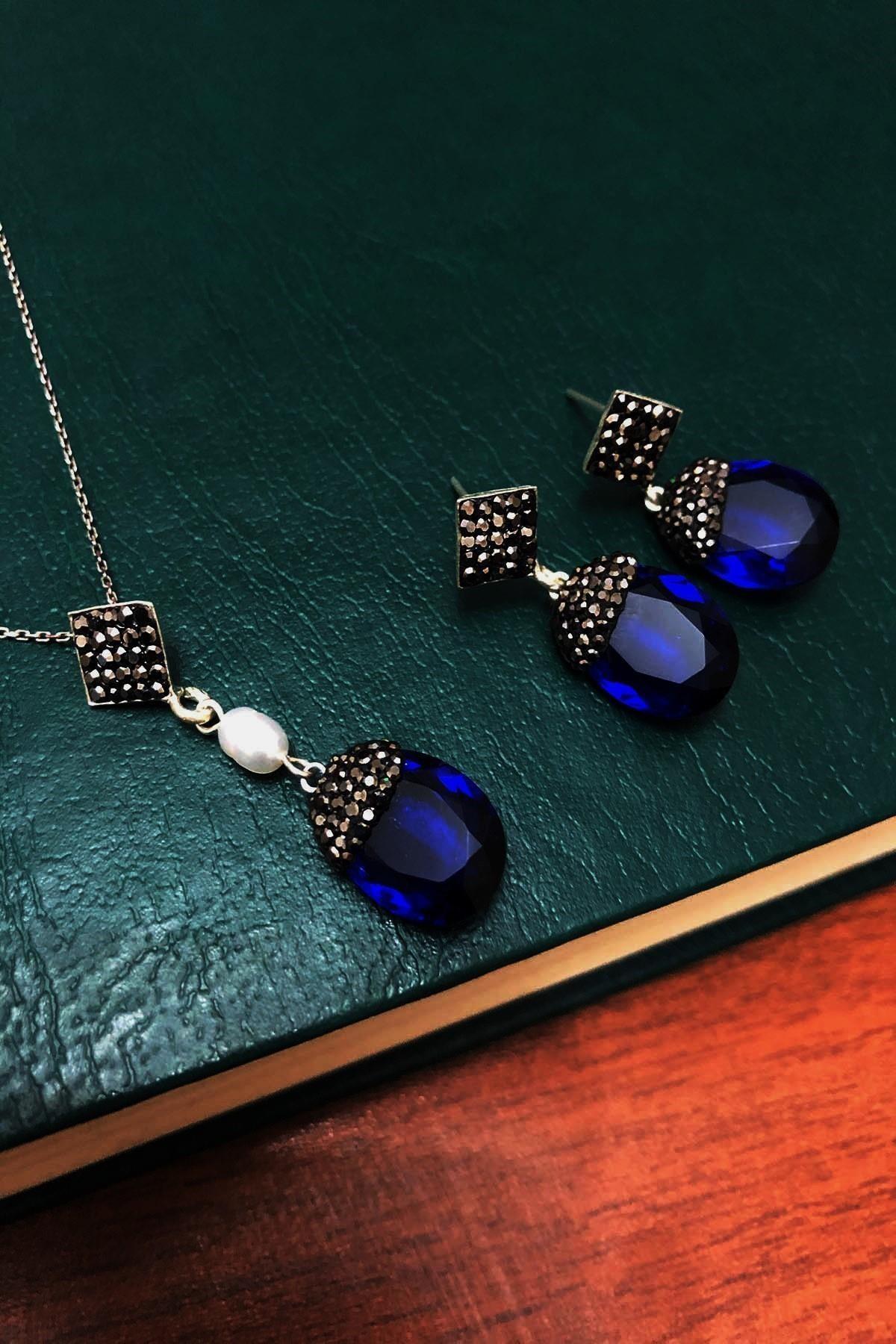 Dr. Stone Safir Rengi Hindistan Kristali Ve Inci Gümüş Kadın Set Xdrsott6 1
