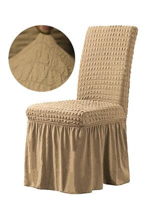 F faiend Kahverengi Etekli Bürümcük Esnek Sandalye Örtüsü Sandalye Kılıfı