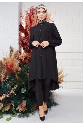 Setrms Kadın Siyah İnci Detay Basic Tunik