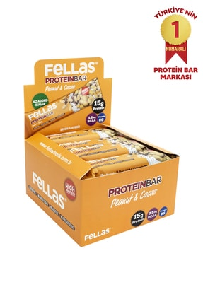 Fellas Yüksek Protein Bar - Yer Fıstıklı ve Kakaolu 45 gr x 12 Adet