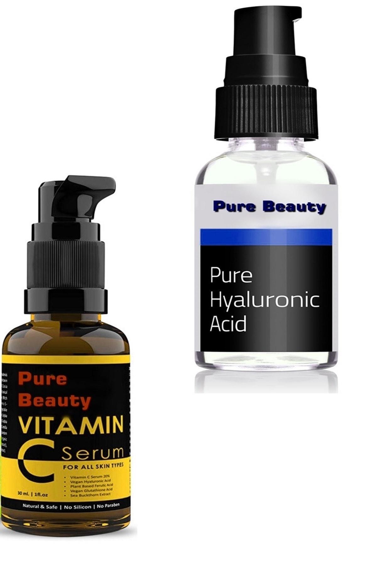 Pure C Vıtamın Hyaluronıc Acid Cilt Serum Kırışıklık Karşıtı Hyaluronic Acid Krem Hediyeli 1