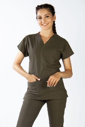 yıldız üniforma Doktor,hemşire Forması Yüksek Pamuk'lu Likralı Cerrahi Nöbet Takımı Yağ Yeşili