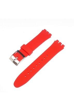 Swatch 19mm Uyumlu Kırmızı Slikon Saat Kordonu