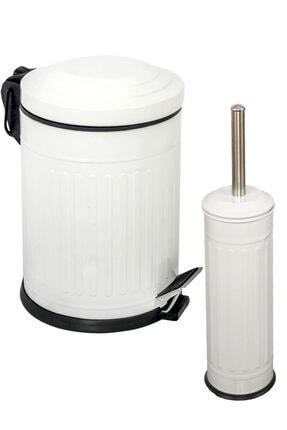 Foreca Vintage 2 Li Çöp Kovası Banyo Seti Çizgili Beyaz