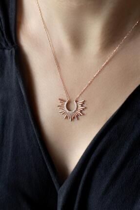 BY BARUN SİLVER Beyaz Taşlı Mutluluk Güneşi Kolye-Rose