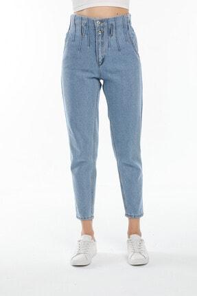 RicardaBella Kadın Beli Lastikli Yüksek Bel Mom Jeans Pantolon R104