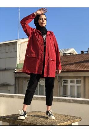 Papatya Giyim İzmit Kadın Bordo Kapüşonlu Yağmurluk