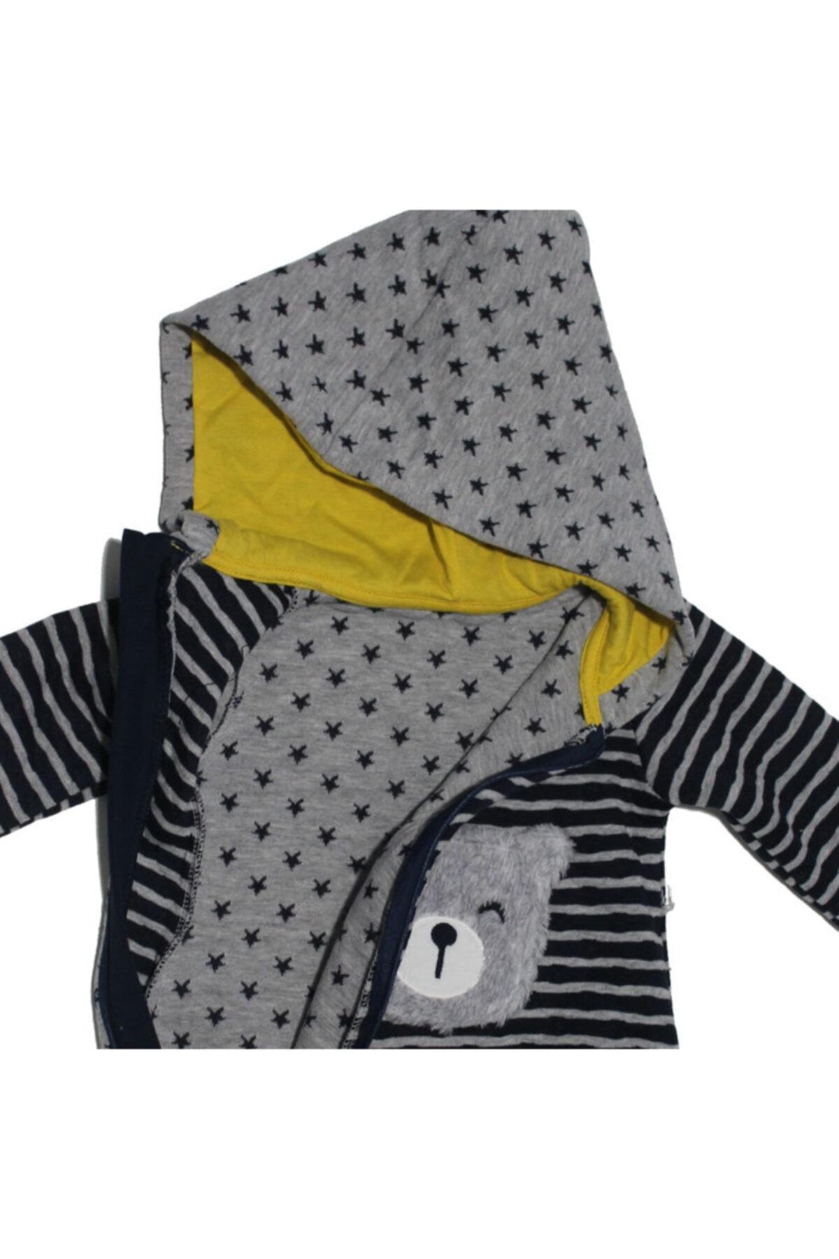 Mymio Erkek Bebek Lacivert Ayı Temalı Kapüşonlu Tulum 2