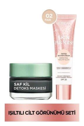 L'Oreal Paris Saf Kil Detoks Maskesi+Skin Paradise Su Bazlı Renkli Nemlendirici 02 Fair