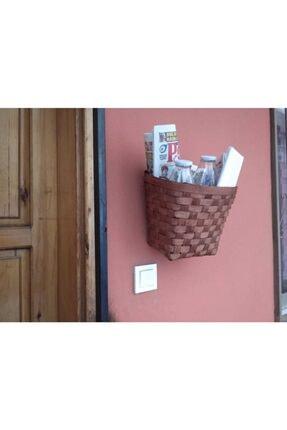 Marketonya Hasır Posta Kutusu Gazete Sepeti El Işçiliği Ahşap Sepet