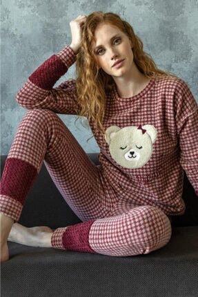 Anıl Kadın Bordo  Uzun Kollu Pijama Takımı