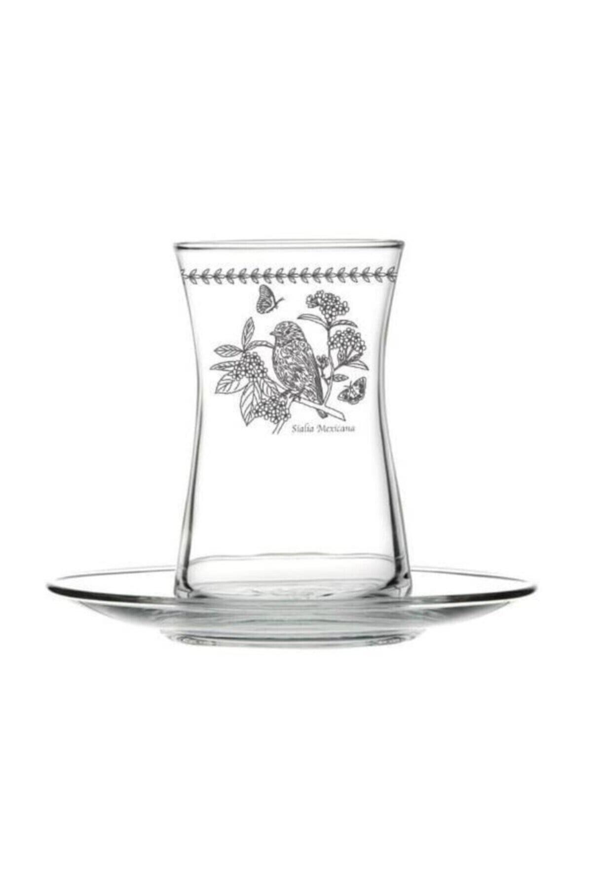 çerçi Bohemia Kuş Desen 6'lı Çay Bardağı Seti Bhm04-k 1
