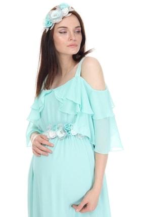 Entarim Kadın Yeşil Hamile Maxi Baby Shower Elbisesi 6021düz