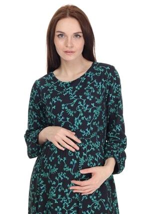 Entarim Kadın Yeşil Desenli Maxi Hamile Elbise 5072y2