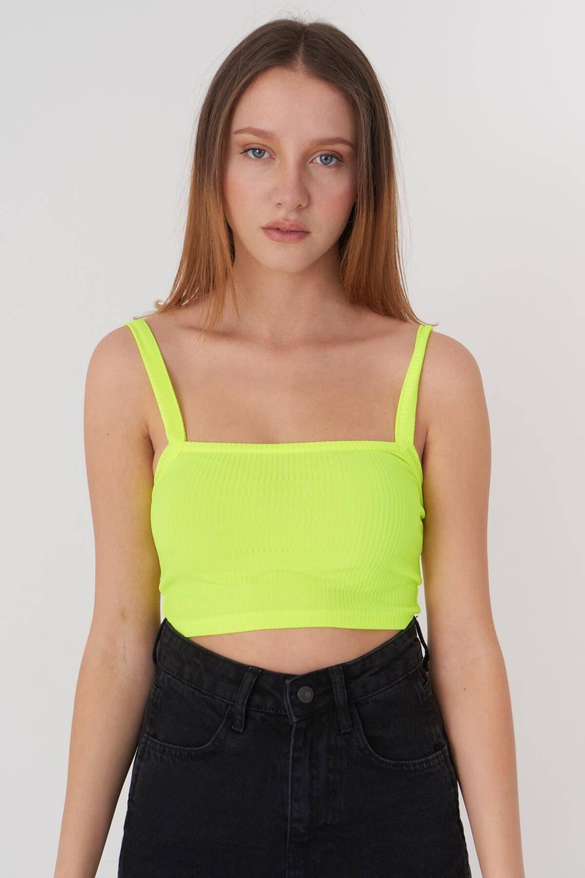 Addax Kadın Neon Sarı Askılı Bluz A1024 - U6 Adx-0000022705 2