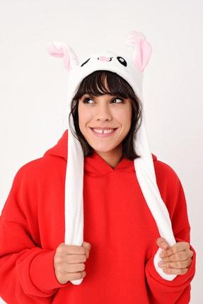 YOYOSO Kadın Beyaz Kulakları Hareket Eden Tavşan Şapka