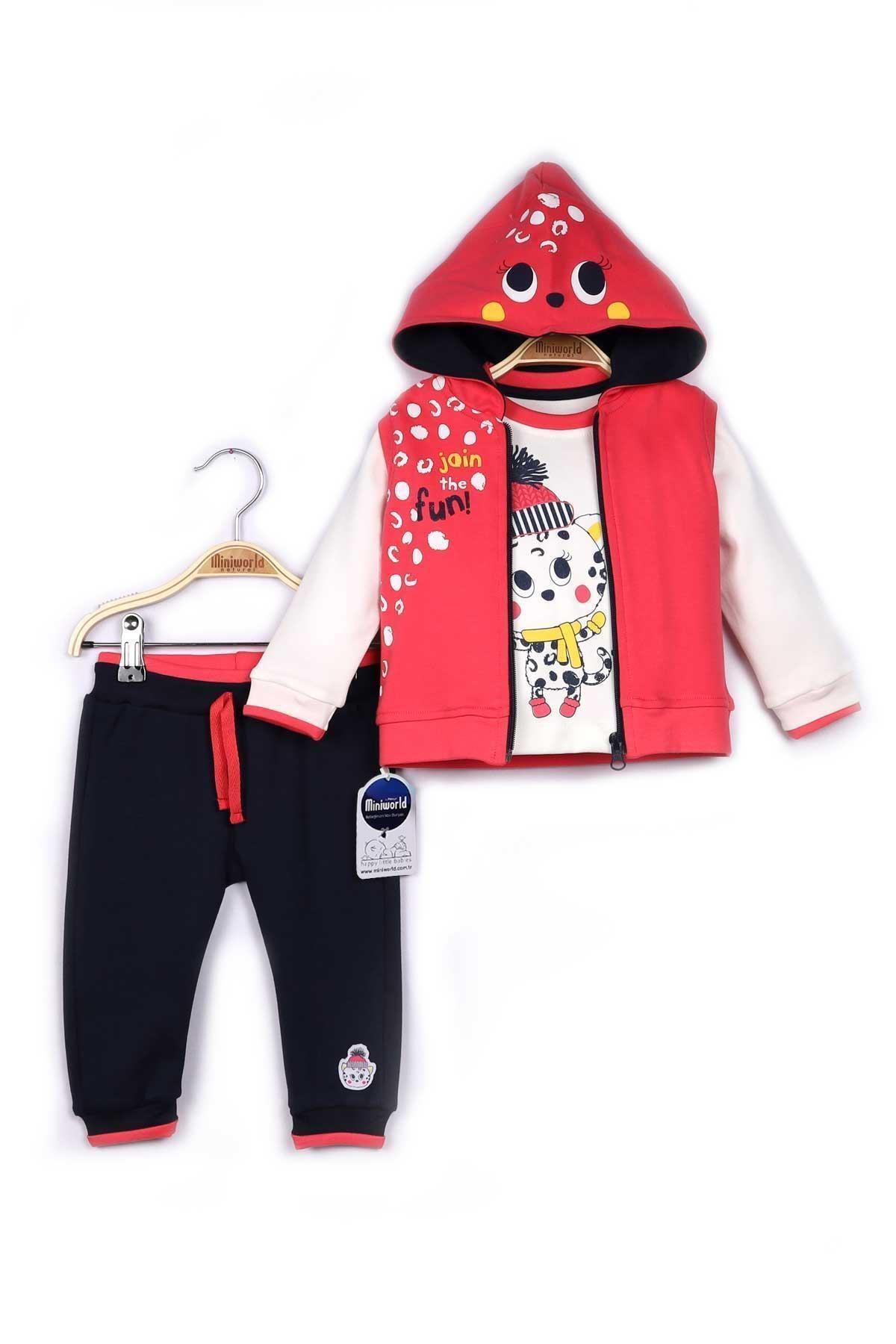 Miniworld Kız Bebek Pembe Yelek Sweatshirt Pantolon 3'lü Takım 9-24 Ay 14798 1