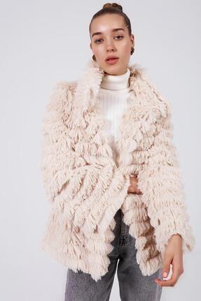 Y-London Kadın Bej Saçaklı Düğmesiz Peluş Ceket S70