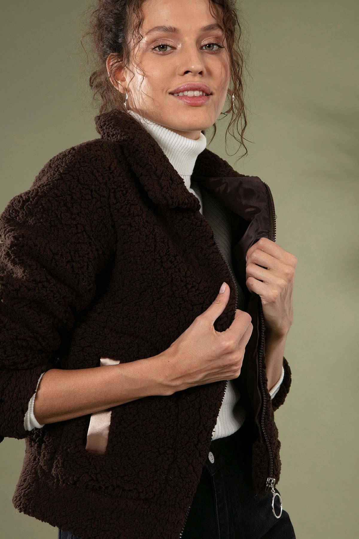 Y-London Kadın Kahverengi Fermuarlı Cepli Peluş Ceket 10358 2