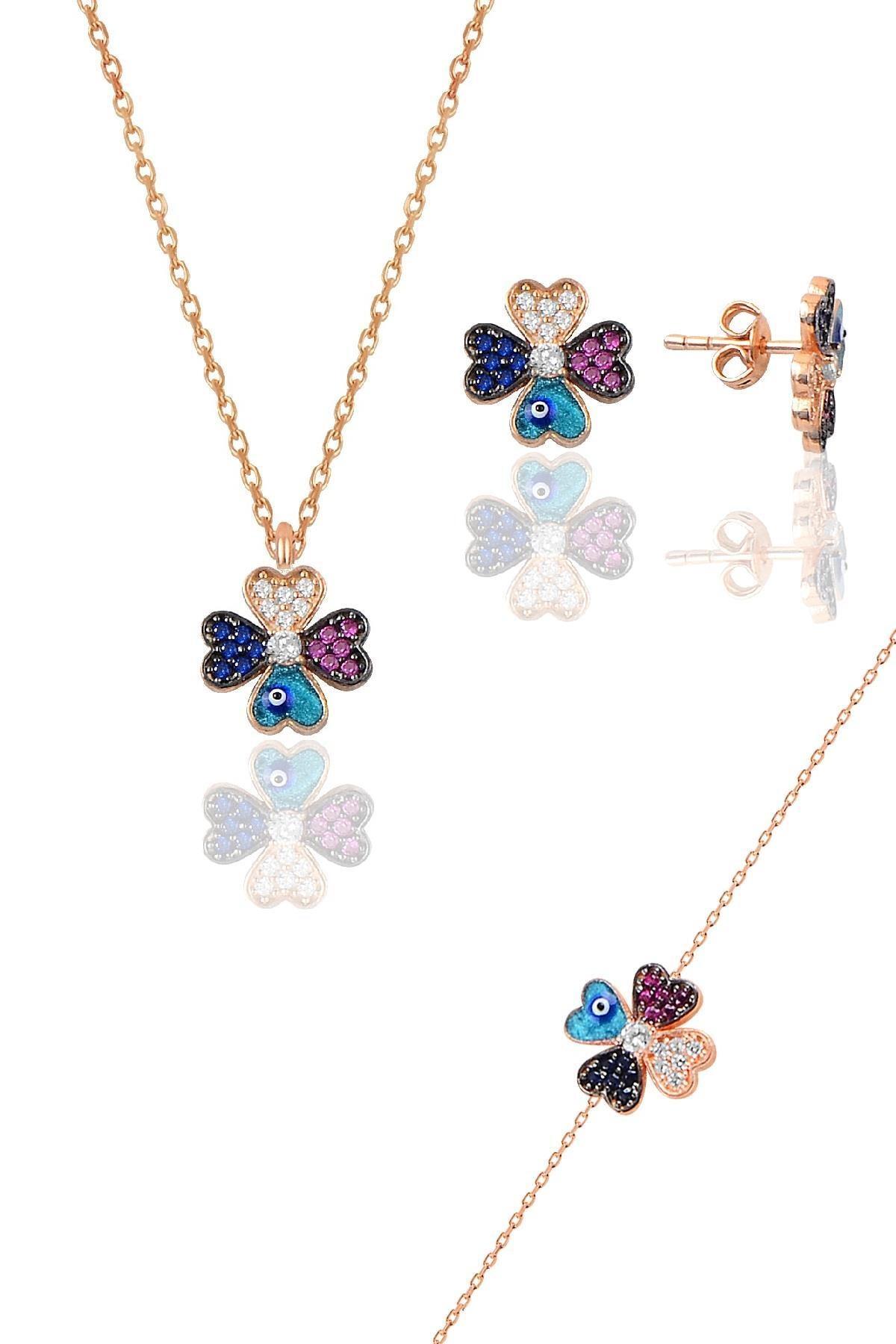 Söğütlü Silver Gümüş rose mineli yonca modeli üçlü set
