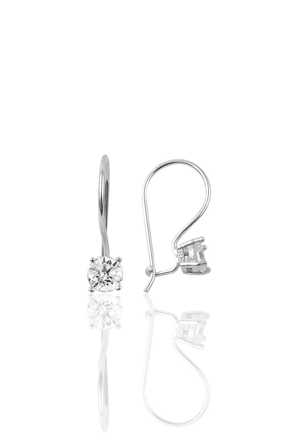 Söğütlü Silver Gümüş rodyumlu tek taş  kolye ve çengelli küpe gümüş  set 2