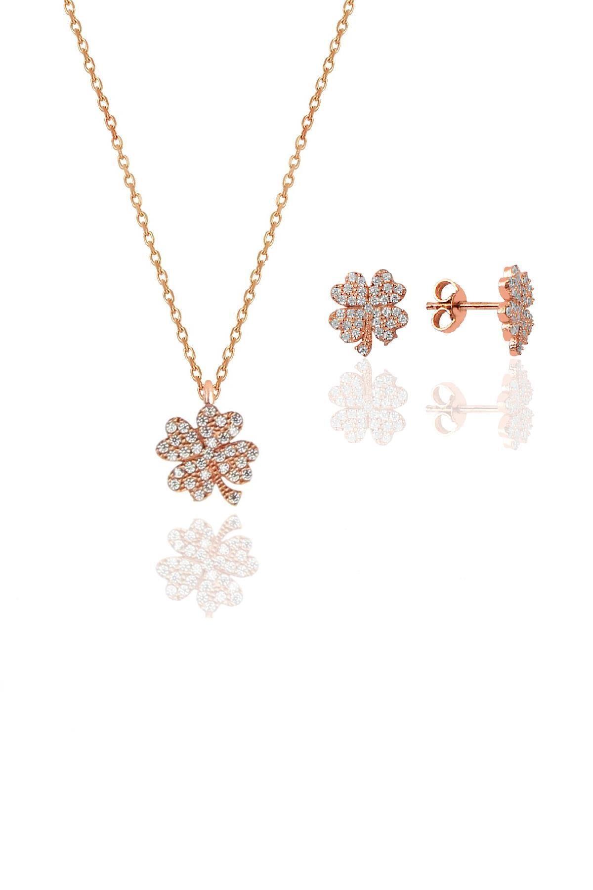 Söğütlü Silver Gümüş rose zirkon taşlı yonca kolye ve küpe gümüş ikili set