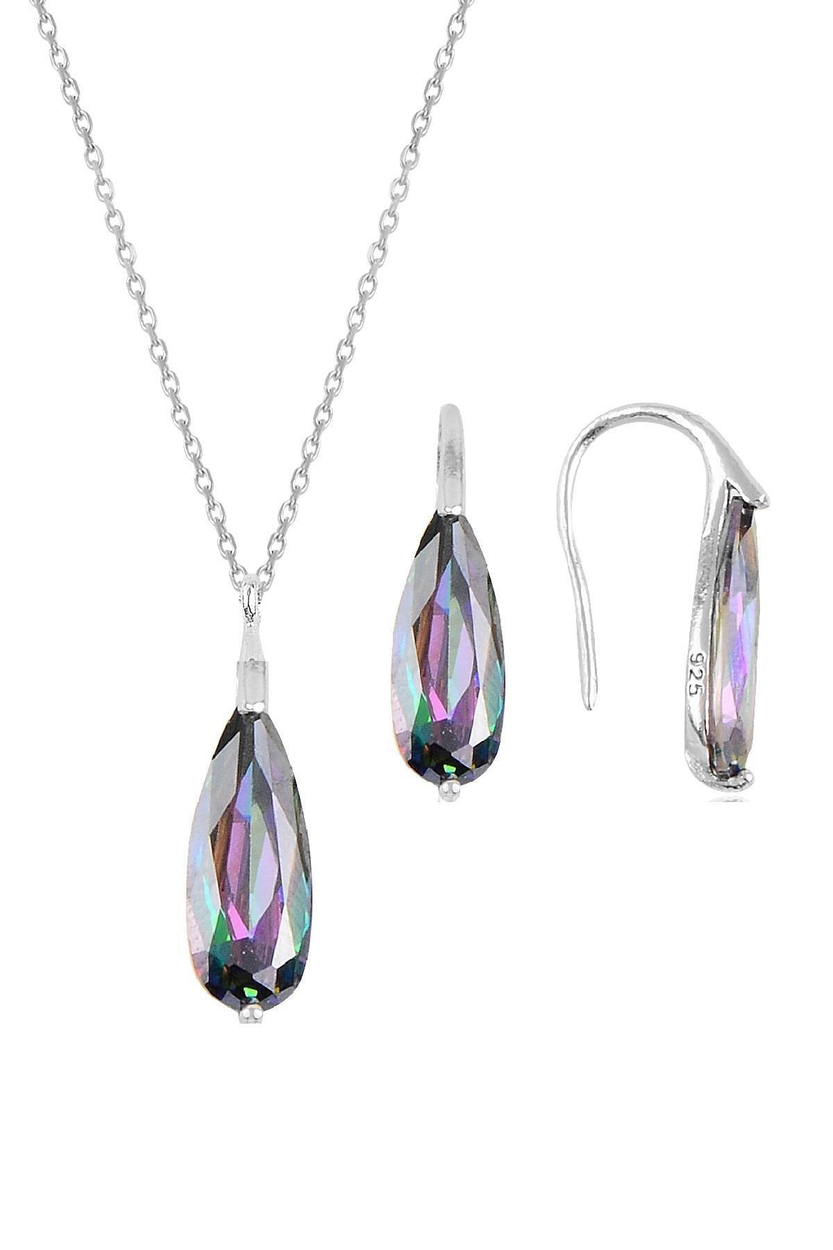 Söğütlü Silver Gümüş rodyumlu  mistik  taşlı damla kolye ve küpe ikili gümüş set